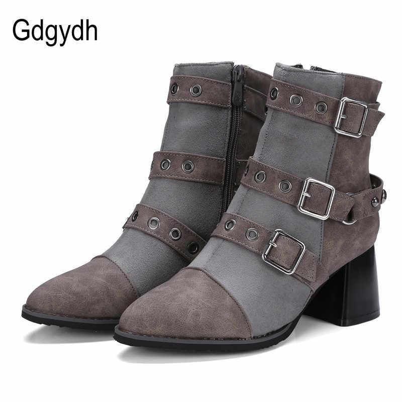 Gdgydh kadın ayakkabı 2020 yeni bahar seksi perçin yarım çizmeler kadınlar için sivri burun içinde peluş kadın ayakkabı rahat ayakkabılar güzel