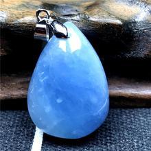 Naturalny niebieski akwamaryn wisiorek dla kobiety Lady kryształ 27x19x10mm kamień wyczyść koraliki 925 srebrny naszyjnik wisiorek biżuteria AAAAA