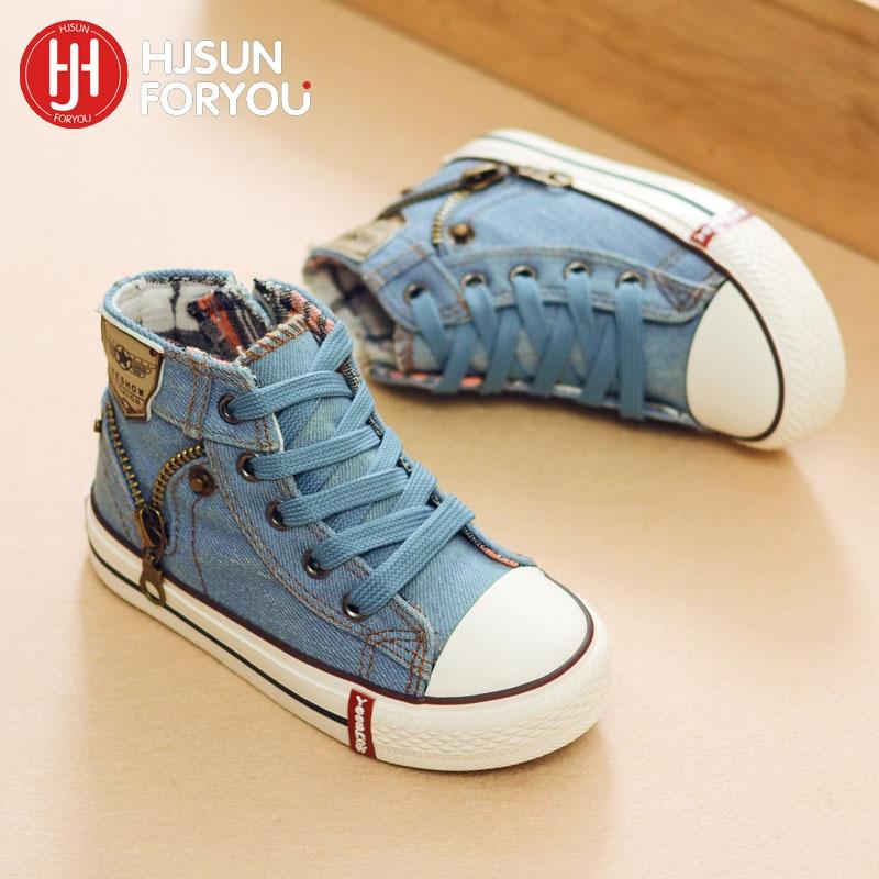 2020 Canvas Children Shoes Non-slip Fashion Sneakers Kids Canvas Sports Shoes Boys Flats Girls Boots Jeans Denim Casual Shoes