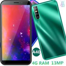 A40 quad core smartphones 4gb 64gb 13mp 6.0 polegada fhd telefones celulares android face id desbloqueado celulares versão global dropshipping