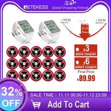 Retekess ресторан пейджер кальян Беспроводная система вызова официанта 433 МГц 2 TD108 часы приемник + 15 кнопка вызова передатчик
