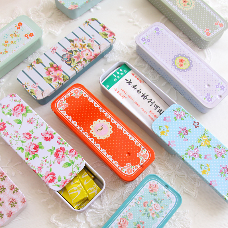 Mini Rectangular Storage Box With Slide Cover Iron Storage Box For Cosmetic Sugar Jewelry Pill Cases Portable Tin Box Container
