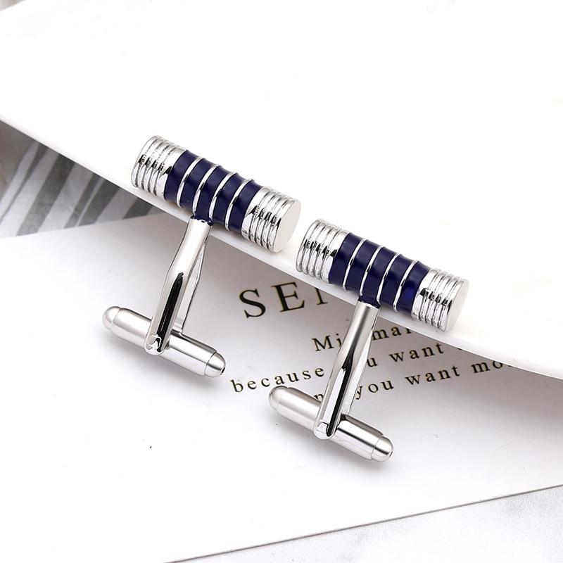 business simple style male cufflinks suit jewelry cufflinks black/blue Round stick men accessories fashion trendy(China)