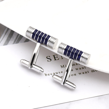 business simple style male cufflinks suit jewelry cufflinks black/blue Round stick men accessories fashion trendy
