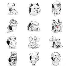 45 arten Nette Cartoons Tier Serie Hund Eule Fuchs Schwein Perlen Fit Original Pandora Charms Armbänder Frauen DIY Mode Schmuck geschenke