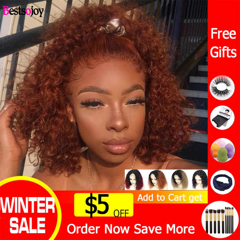 Bestsojoy Ginger Orange Short Curly Bob Wig Lace Front Human Hair Wigs Ombre Burgundy Colored Human Hair Wigs For Black Women