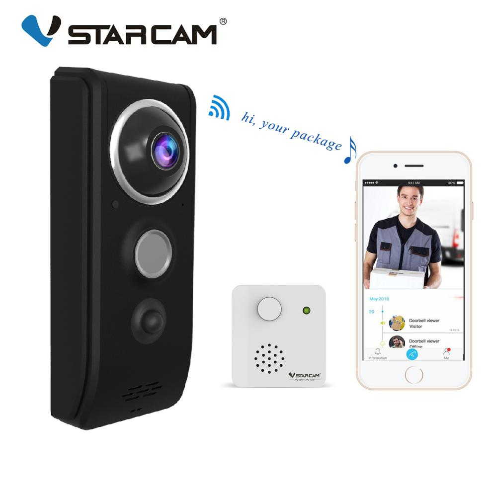 Vstarcam Video Doorbell Camera 720P WiFi Visual Doorbell Call Intercom Door Bell Rechargable Battery IR Night Security Monitor