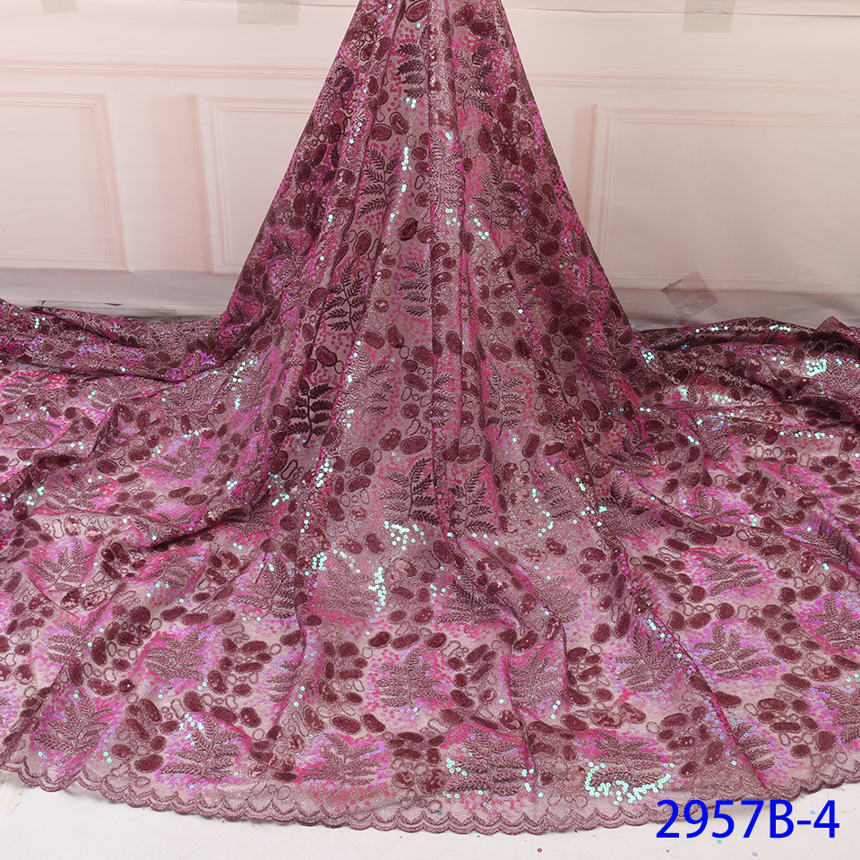 Hot Sale African Tulle Lace Fabric 2019 French Nigerian Mesh Net Laces Fabrics With Organza Sequins For Dresses 5yards YA2957B-4