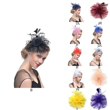 цены Hot Sale Bridal Fascinators Hat With Hair Clip Feather Net Yarn With Headband Party Hair Accessories