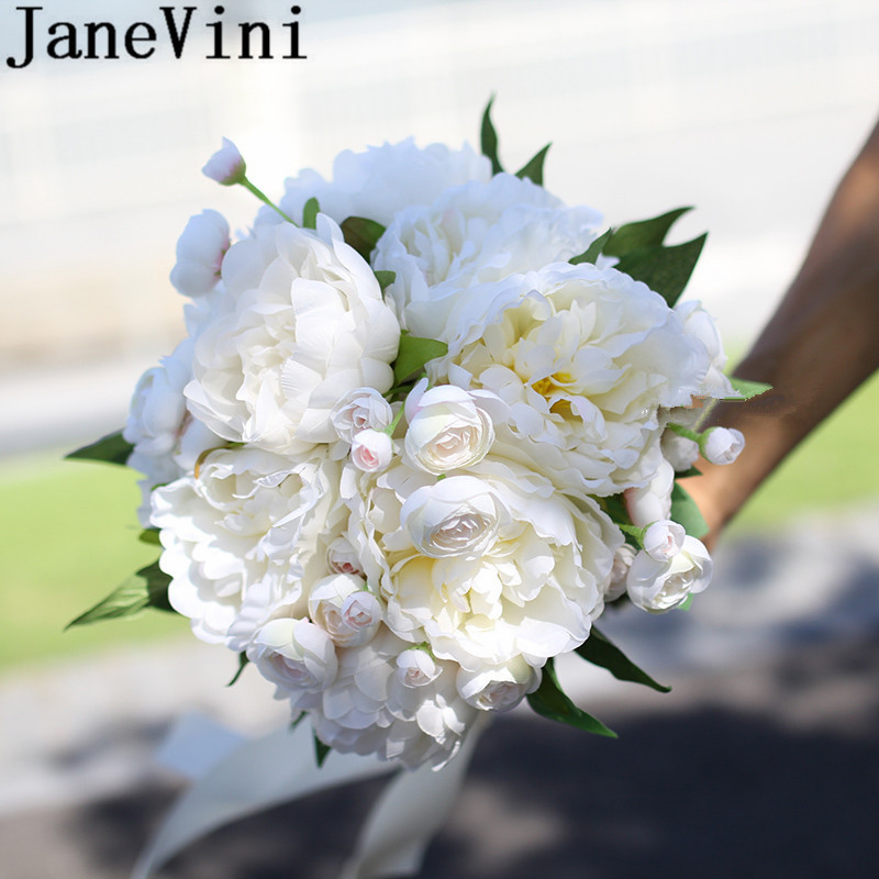 JaneVini Silk Peony White Wedding Bouquet Artificial Photography Bridal Bouquets Bridesmaid Flower Bouquet Mariage Blanc 2019