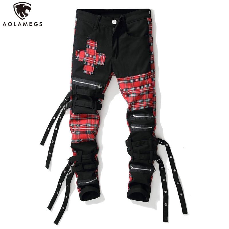 Aolamegs Jeans Men Scottish Plaid Patchwork High Street Style Denim Multi-Zipper Ribbon Advanced Casual Hip Hop Jeans Streetwear