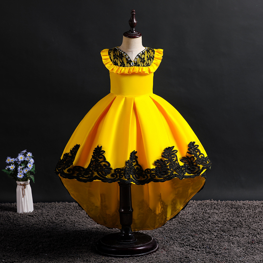 Girls Europe And America Tailing Evening Gown Cute Princess Dress Lace Host Service Children Sleeveless Tutu