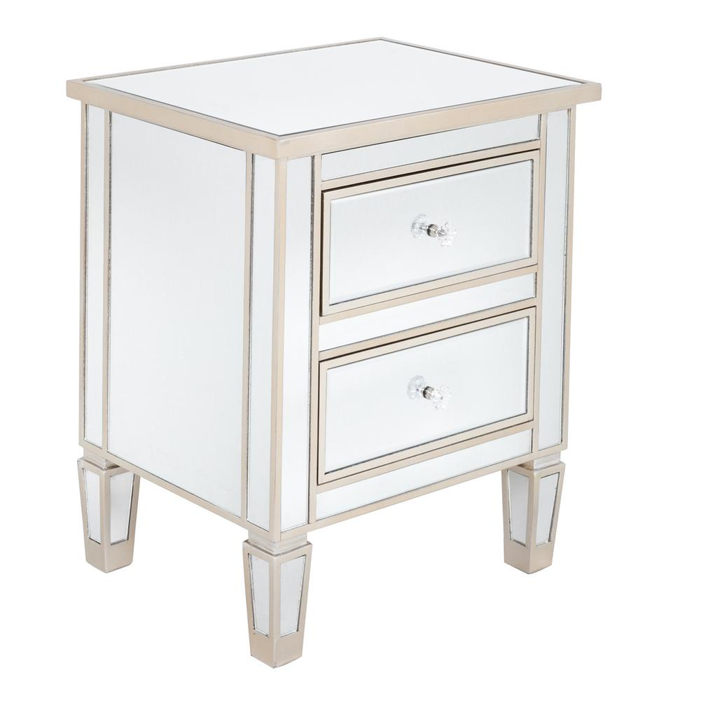 Modern And Contemporary Mirrored 2 Drawers Nightstand Bedside Table Silver Rose