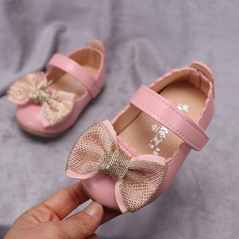 New Newborn Baby Girl Bow Princess Shoes Soft Sole Crib Leather Solid Buckle Strap Flat With Heel Baby Shoes 3 Colors 0-18M