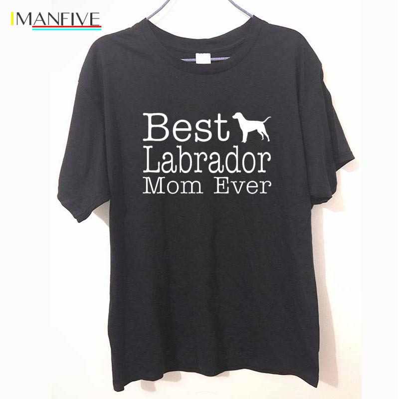 T Shirt Ideas Short Sleeve Fashion Crew Neck Womens Dog Lover Gift Best Labrador Lab Mom Ever Tees in T Shirts from Men 39 s Clothing