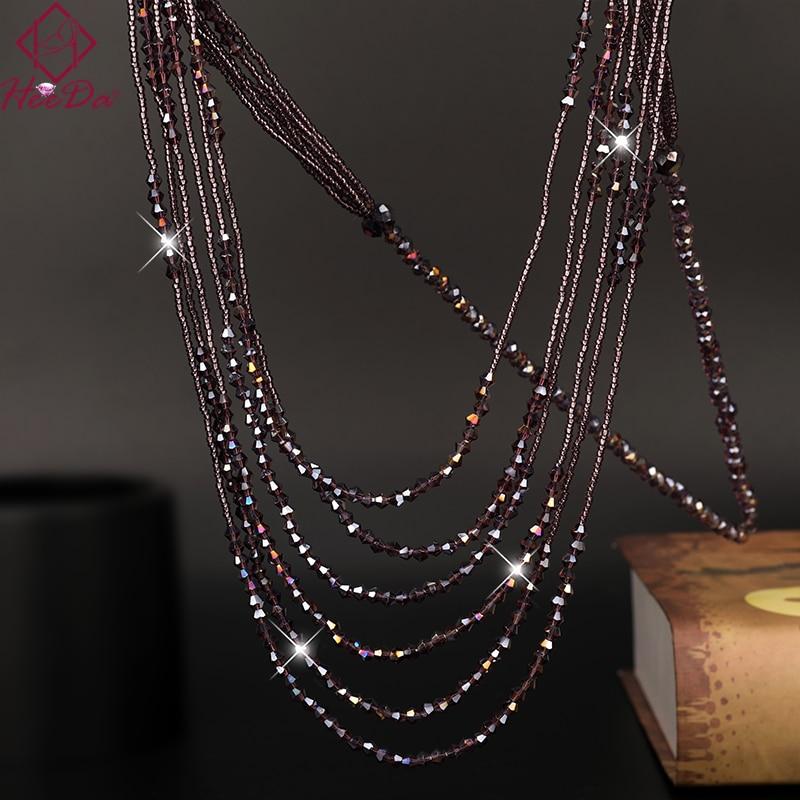 Long Gloss Multi Strands Chain Metal Fashion Necklace Statement Women Ladies