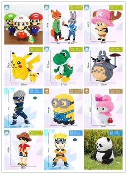 Mini bloques de construcción Mario Naruto dibujos animados de Panda personaje ladrillo juguetes educativos para niños Micro tamaño bloque de diamante sin caja