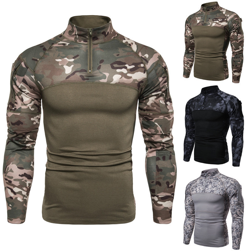 3color Long Sleeve Army Camouflage T-shirt Men Camo T Shirt Quick Dry Hiking Hunting Fishing Military Tactical Tshirt Men Summer