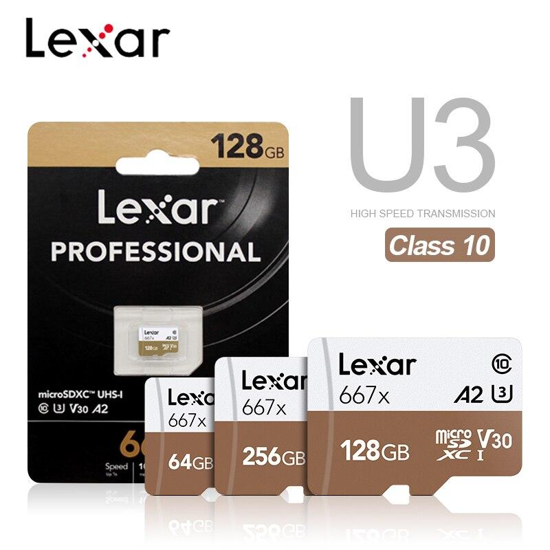 Карта памяти Micro SD Lexar 667X A2 высокая скорость 100 МБ/с./с 256 ГБ 128 Гб 64 Гб SDXC V30 класс 10 UHS-I U3 для 1080p Full-HD 3D 4K видео