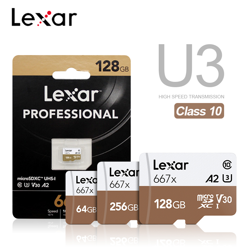Lexar 667X Micro SD Memory Card A2 High Speed 100MB/S 256GB 128GB 64GB SDXC V30 Class 10 UHS-I U3 For 1080p Full-HD 3D 4K Video