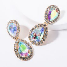 2019 Fashion New Acrylic Water Drop Shining Rhinestone Big Crystal Brand Design Za Statement Stud Earrings For Women Jewelry