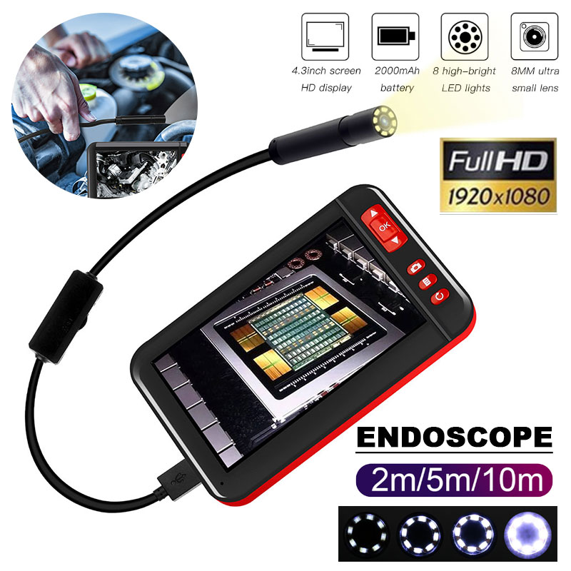Industrial Endoscope YINAMA Digital Inspection Camera Unique 4 3 inch HD IPS Screen 8 LEDs Borescope IP67 Waterproof Snake Tube in Surveillance Cameras from Security Protection