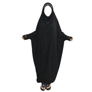Image 5 - Ramadan muzułmanin Burqa Abaya kobiety hidżab modlitwa sukienka Islam napowietrznych Burka Niqab długi Khimar Kaftan szata arabski bliski wschód odzież