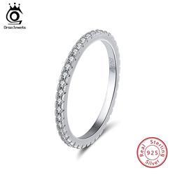 ORSA MÜCEVHER 925 Ayar Gümüş Yüzük Kadınlar Klasik Yuvarlak Tam Açacağı AAA Kübik zirkonya Nişan Düğün Band Yüzük Kızlar için SR63