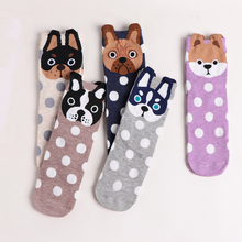 Mode Cartoon Socken Hund Katze Frauen Fußabdrücke 3D Tiere Stil Warme Muply Nette Baumwolle Socken Dame Boden Socken für Weibliche sokken