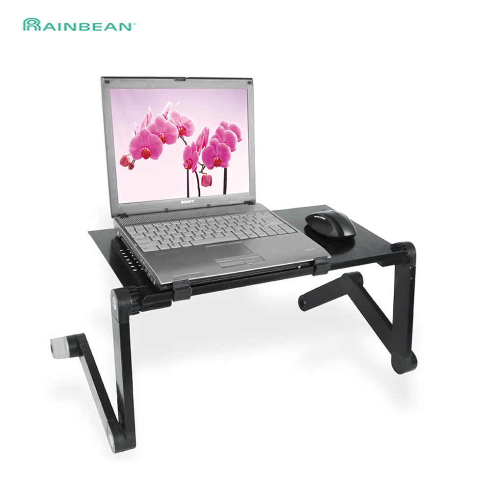 48*26cm Extended Laptop Table Stand With Adjustable Height Folding Ergonom Laptop Desk For Bed Sofa Metal Computer Desk