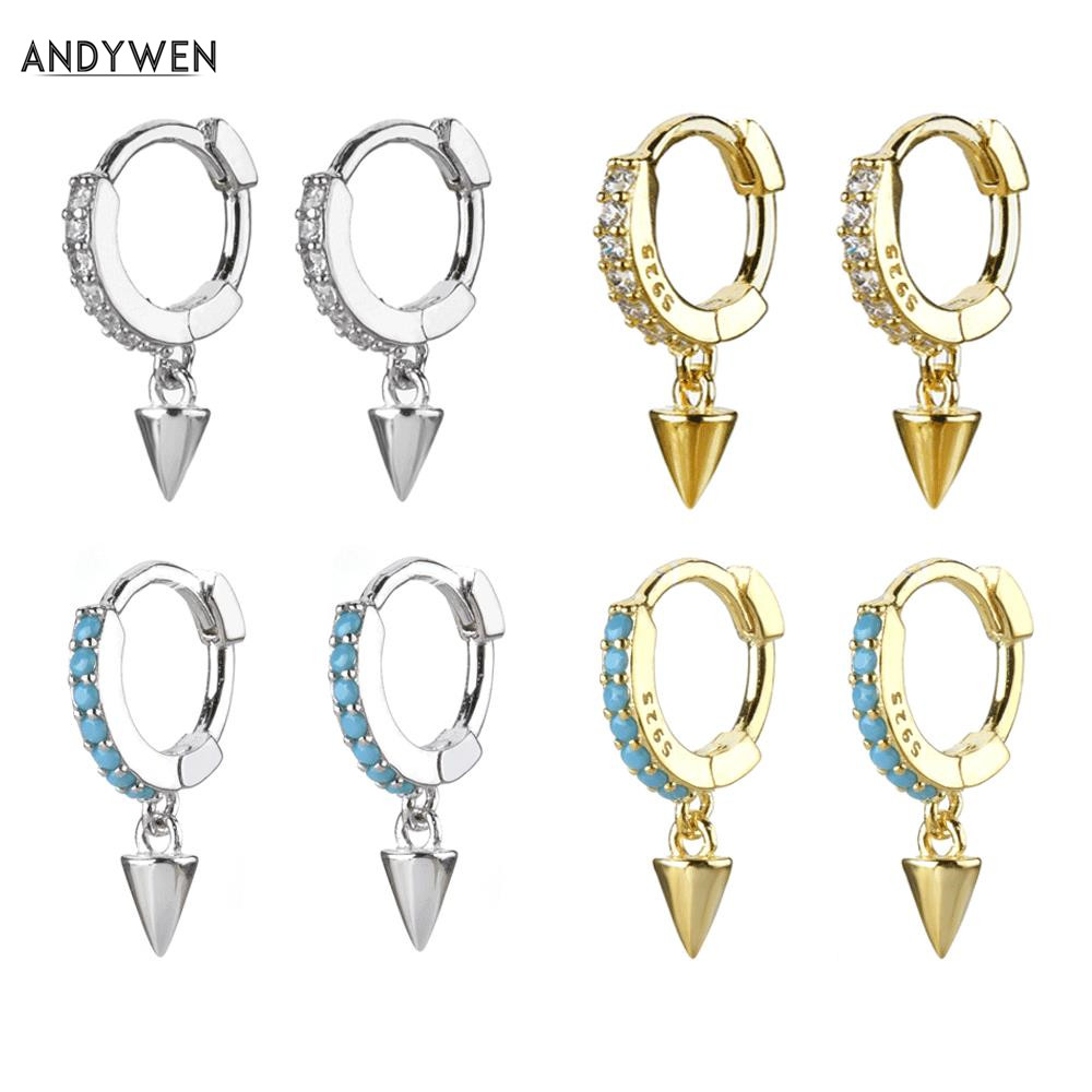 ANDYWEN 925 Sterling Mini 6.5mm Spike Huggies Small Hoops Loop Circle Ring Crystal CZ Women Piercing Clips On Earring Jewelry