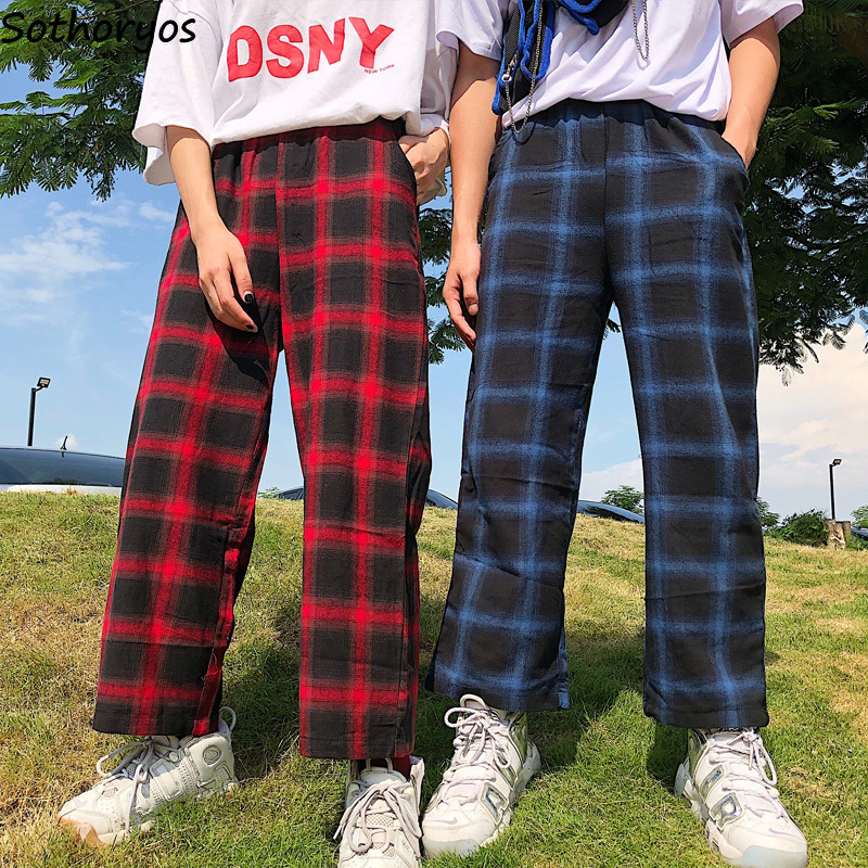 Pants Women Autumn Plaid Loose Leisure High Waist Trousers Womens Elastic All-match Korean Style Ulzzang Retro Students Daily