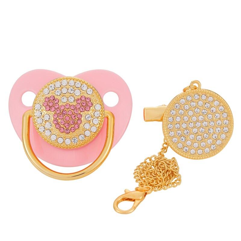 Blingonly luxo strass chupete rosa bling chupeta bebê com clipe