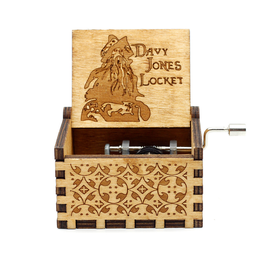 Anonymity  wooden Hand-Crafted Jack Sparrow from Pirates of the Caribbean plays melody Davy Jones Music Box 4
