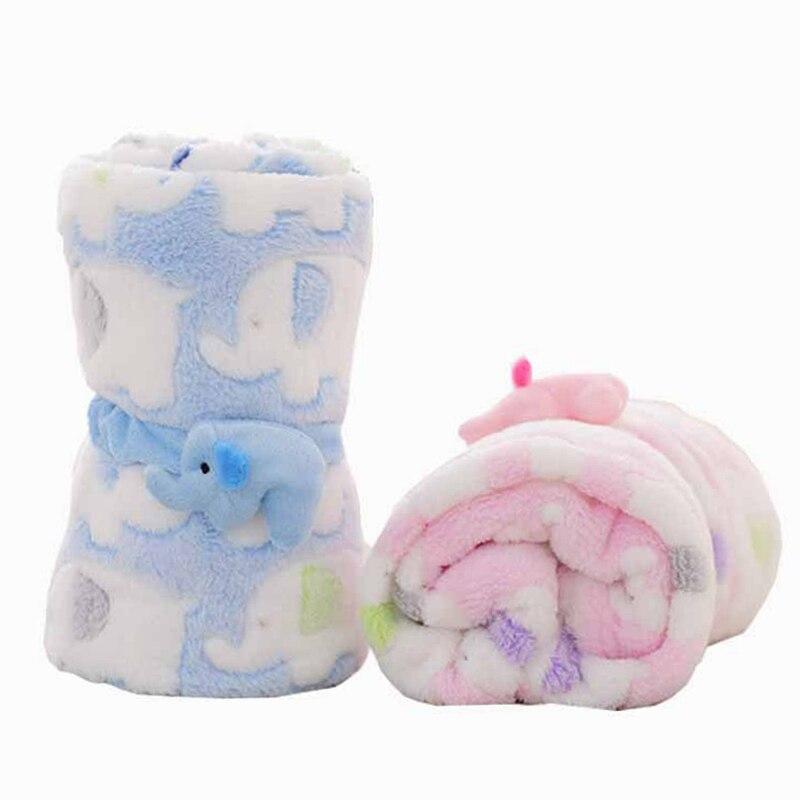 Soft Coral Fleece Baby Blanket Infant Crib Bedding Cartoon Elephant Pattern Blanket Newborn Sleeping For Boys Girls 95*83cm