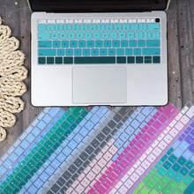 Eua/ue inglês espanhol à prova de poeira água teclado capa para macbook air 13 2019 2020 a2179 a1932 a2337 toque id gradiente cor