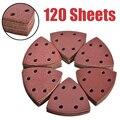 120 шт. 93 мм 6 отверстий клей шлифовальные диски Дельтовидная шлифовальная Бумага зернистостью 40/60/80/120/180/240 шлифовальный диск для наждачная бу...