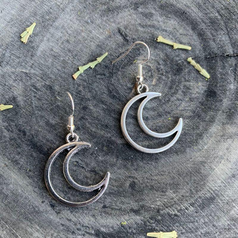 Модные серповидные серьги с Луной, полые серьги в форме полумесяца, небесные ювелирные изделия, серьги с персонажами