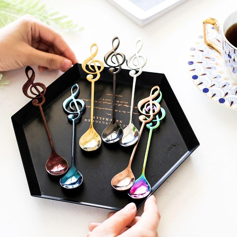 4 pçs criativo nota musical colheres de café aço inoxidável chá agitando colheres conjunto açúcar sorvete caneca sobremesa colher de chá