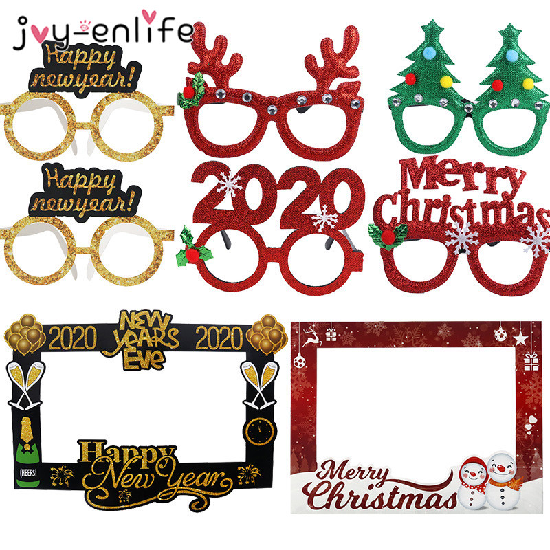 2020 New Year Glasses Happy New Year Merry Christmas Photo Frame Props Navidad Christmas Decoration Photobooth New Year Noel