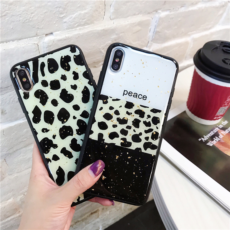 Leopard Luxury Gold Foil Bling Phone Case Cover For Iphone XS Max XR X 8 7 6 6S Plus Luxury Soft Back Cases Fashion Capa Shell