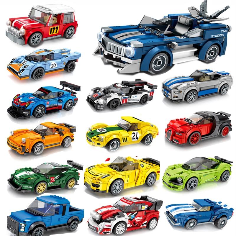 Модель спортивного гоночного автомобиля, конструктор для детей, совместим с скоростными чемпионами, техника, городские автомобили, суперго...