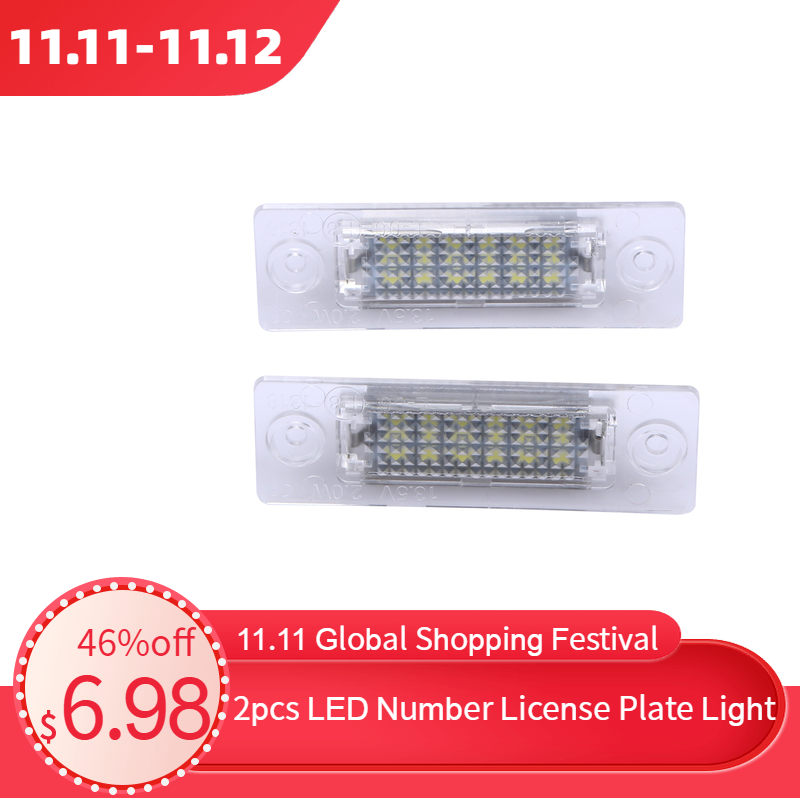 2pcs LED Number License Plate Light Rear Lamp 18-LED For VW Caddy Transporter Passat Car License Plate Lights Car Styling