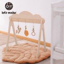 1Set Nordic Stil Baby Gym Spielen Holz Baby Spielzeug Baby Hängen Rasseln Kindergarten Sensorischen BPA Freie Organic Material Holz rahmen Infan
