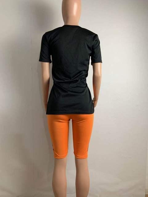 Shorts Sets O Neck Short Sleeve T Shirt Shorts Tracksuit Biker 2 Piece Sets Womens Outfits Plus Size Sets Letter Print Sportwear 4