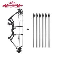 Arco compuesto ajustable con 12 flechas de carbono, IBO 320 fps, potente arco izquierdo-off 80%, accesorios de caza, 1 Juego de 30-70 lbs