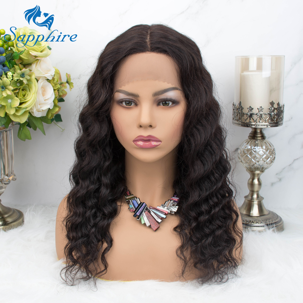 Sapphire Brazilian Loose Curly Hair Lace Wig Remy Human Hair Wigs Hairline 150% Density 18 Inches Brazilian Remy Hair Hairline H