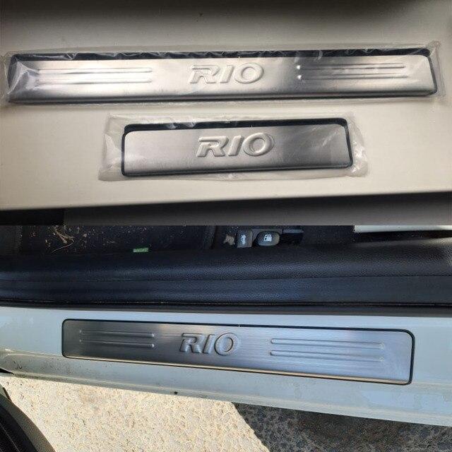 KIA RIO 3 berline à hayon | Plaque de manchette en acier inoxydable, seuil de porte, accessoires de voiture, 4 pièces pour 2010 2011 2012 2013 2014