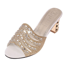 New 2018 High Quality Bling Women Sandals Wedges Shoes for Women Fashion Ladies High Heels Diamond Slip on Shoes Woman Sandals new 2017 summer fashion sexy girl rhinestone flowers golden slippers high wedges heels sandals women slip on woman casual shoes