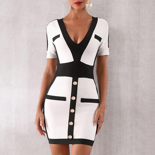 Seamyla New Women Bandage Dress Fashion Short Sleeve White Bodycon Celebrity Party Dresses Sexy V Neck Button Club Summer Dress 5